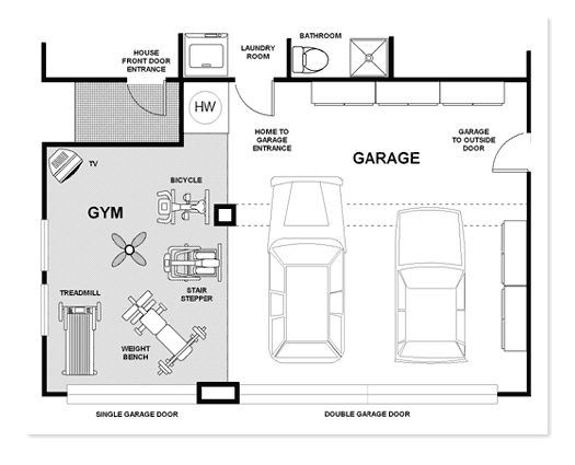 Garage gym could modify to suit individual http www for Gym floor plan