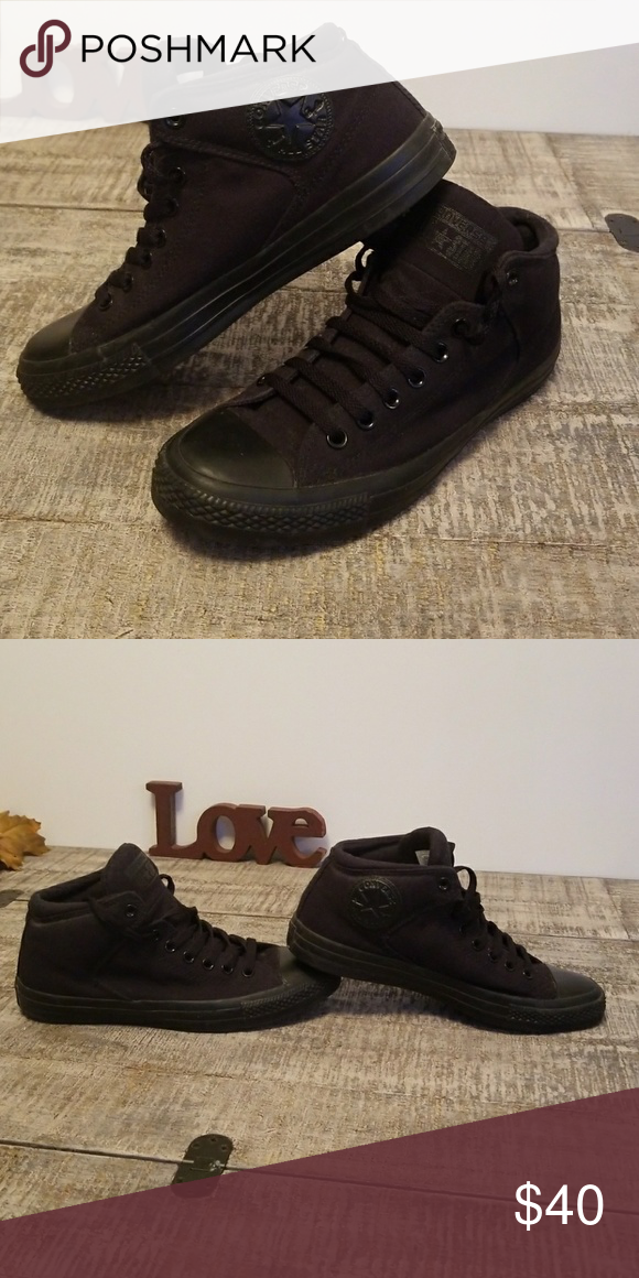 d5378846fd06 Converse all black with thick padding mens converse high top extra padded  at the ankle all black canvas black on black. Converse Shoes Sneakers