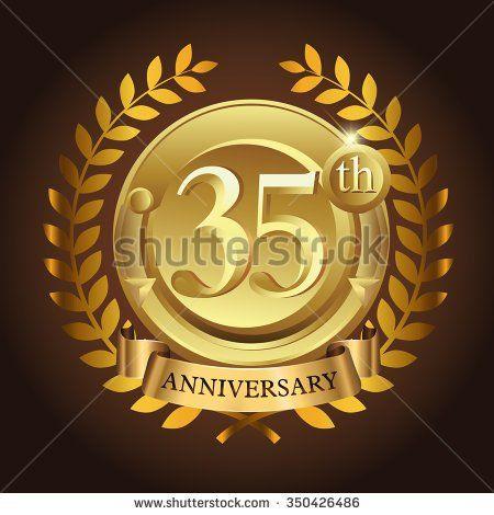 35th golden anniversary wreath ribbon logo - stock vector