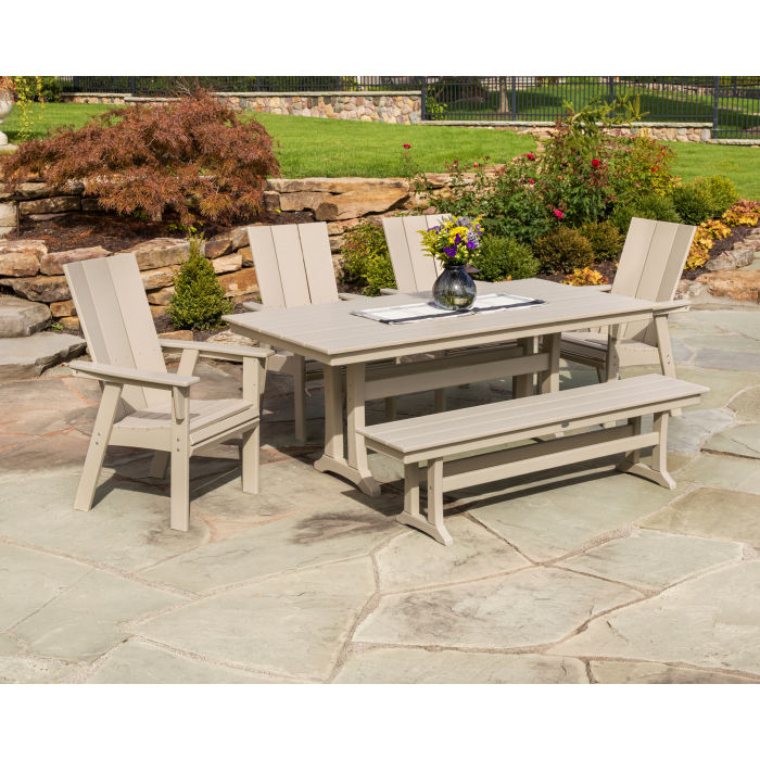 Modern Adirondack 6 Piece Farmhouse Dining Set With Bench In 2020