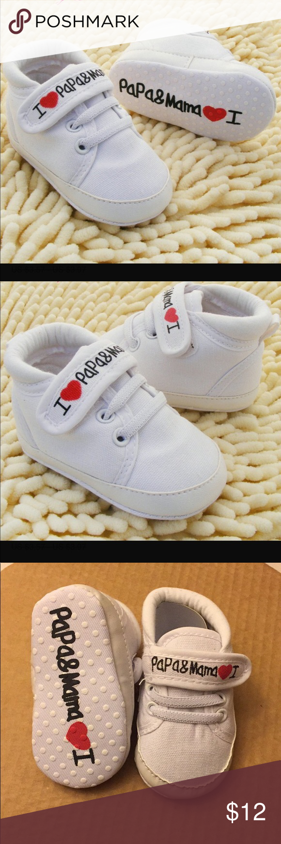 Unisex Baby Shoes I ️ Mama&papa White Baby Shoes I Love