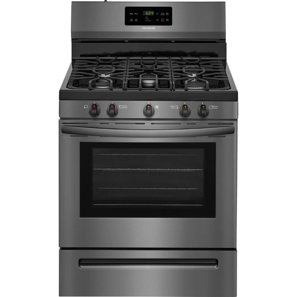Frigidaire 30 In 5 0 Cu Ft Gas Range With Self Cleaning Oven In Black Stainless Steel Ffgf3054td Self Cleaning Ovens Gas Range Cleaning Oven Racks