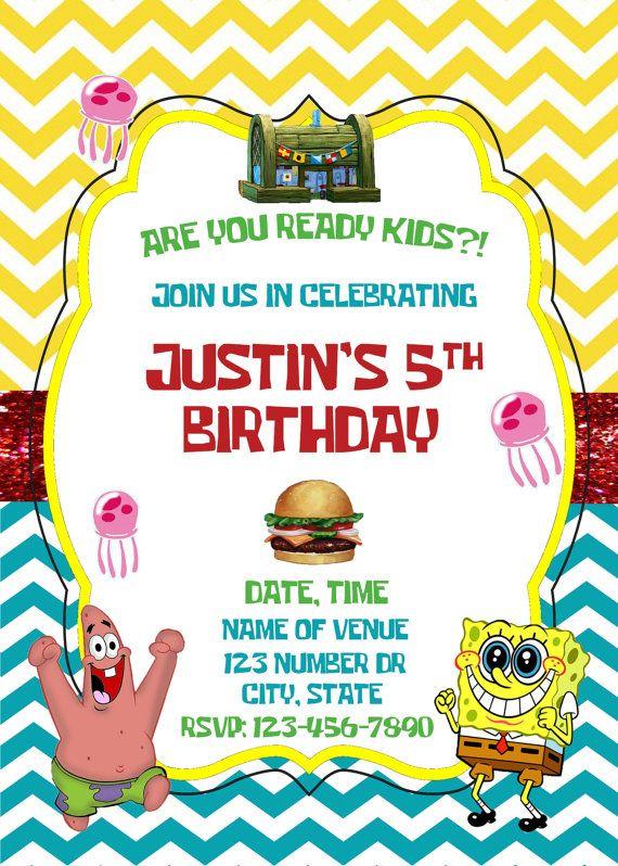 Spongebob Squarepants Birthday Invitation by AdelesAccessories