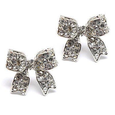 Fashion Crystal Pave Bow Ribbon Stud Earrings Silver for only $10.50