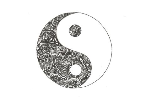 Dibujo Del Yin Yan Fuerzas Opuestas Simbolo Chino Yin Yang Tattoos Scroll Tattoos Ying Yang Tattoo