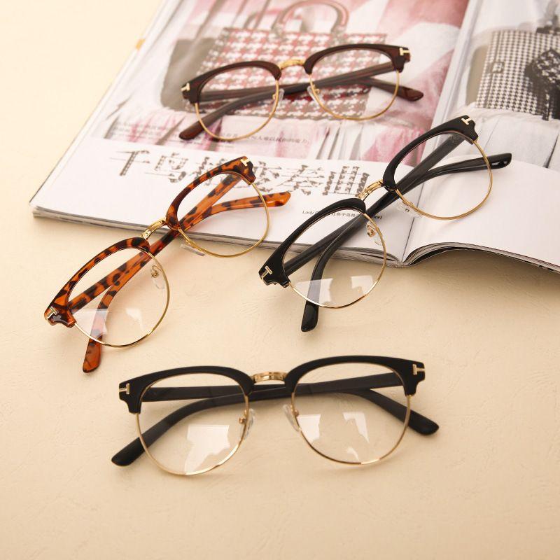 750ac8c20b8ef Nueva moda hombre mujer marco del espejo del llano gafas Nerd Geek Eyewear  marcos con lente transparente envío gratuito en Monturas de Moda y  Complementos ...