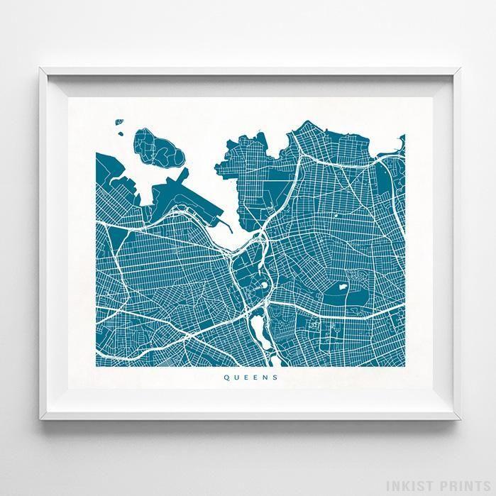 Queens New York Street Map Print Queens Street and Art decor