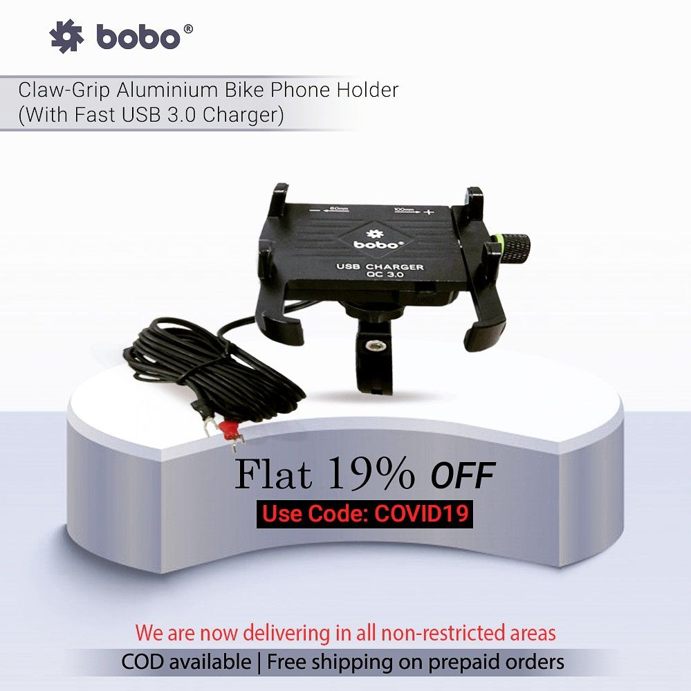 BOBO Claw-Grip Aluminium Waterproof Bike Phone Holder ( with fast USB 3.0  Charger ) ➖➖➖➖➖➖➖➖➖➖➖➖ Key Features ✔️ Claw-Grip security. ✔️ Always connected. ✔️ Always Secured. ✔️ All tolls and spare parts included. ✔️ We provide 6 months warranty. ✔️ Ideal for Maps and GPS Navigation. ➖➖➖➖➖➖➖➖➖➖➖➖ . . . . . #bikes #bikers #bikerider #riders #superbikes #biking #bikingendut #bikelife #bike #bikecare #bikeaccessories #biker #bikersfamily #bikepacking #bikelovers #loveforbike #tech #biketech #gears #