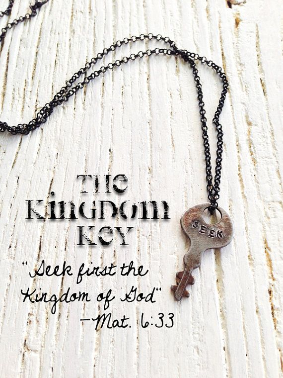 Hand stamped jewelry kingdom key vintage key necklace antique biblical verses hand stamped jewelry kingdom key vintage key necklace antique engraved christian negle Image collections
