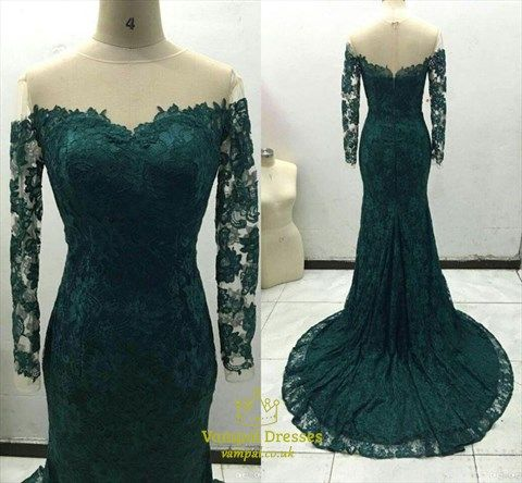 1e97d78126 Emerald Green Off The Shoulder Sheer Sleeves Mermaid Lace Prom Dress ...