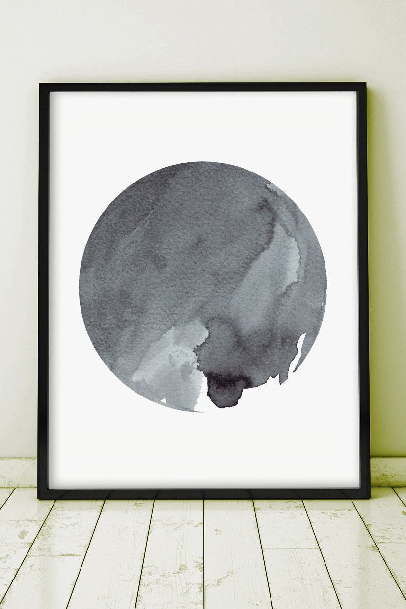 Watercolor Painting Art Abstract Painting Original Art Grey Gray Minimal Art Ink Planet Circle Monochromatic Art Geometric GICLEE PRINT by WhitePrintDesign on Etsy