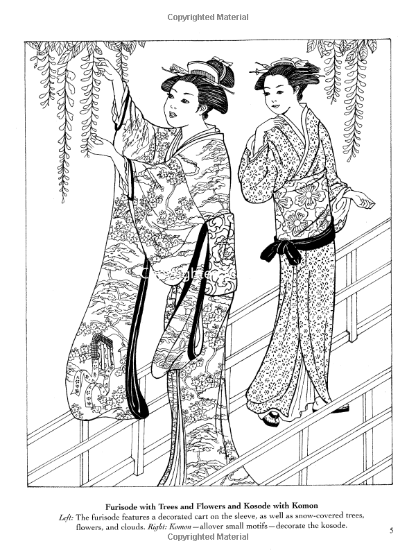 Japanese Kimono Designs Coloring Book Ming-Ju Sun | CoLoRinG Pages ...