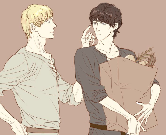 Merthur  This is so fluffy and domestic and precious  GAH