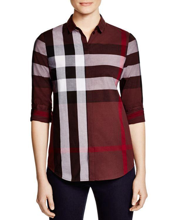 Burberry Brit Check Cotton Shirt Red Checkered Shirt 336565e25