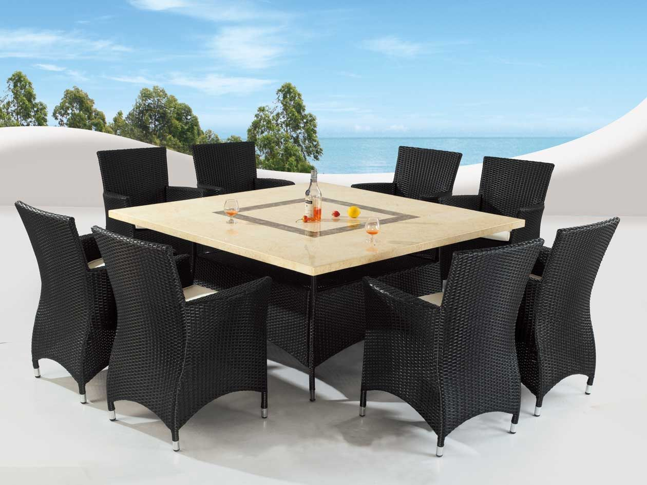 square marble table top outdoor dining set with wicker chairs rh pinterest com