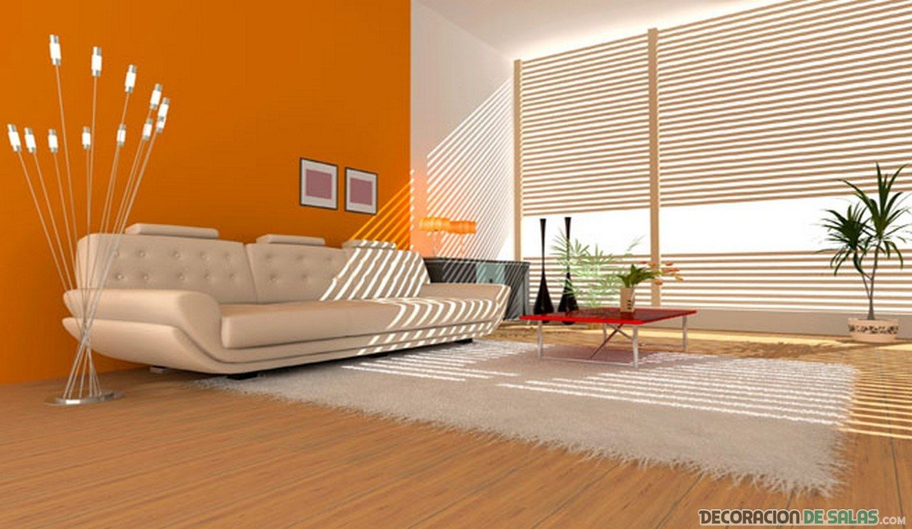 Sal n con paredes en color naranja living pinterest for Pintura color azul piedra