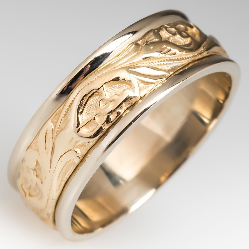 Mens Floral Design 2 Tone 14k Gold Wedding Band Size 11 25 14k Gold Wedding Band Gold Wedding Band Mens Wedding Bands