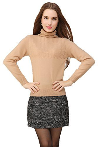 Miuk Women's 100% Cashmere Long Sleeve Sweater Turtle Neck With ...