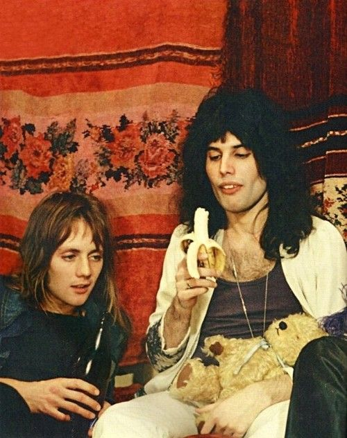 Just Freddie Mercury eating a banana