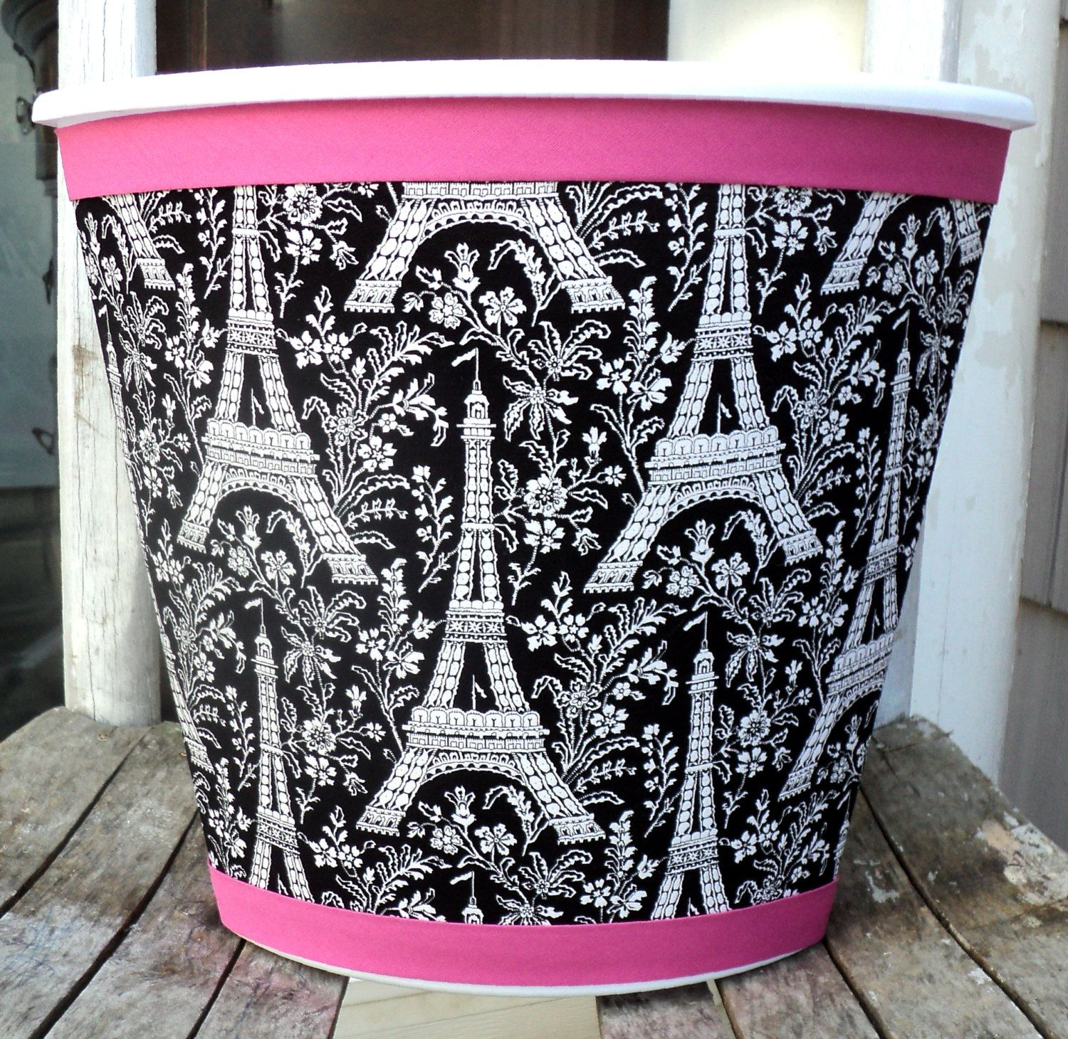 ooh la laparis wastebasket black white hot pink michael miller