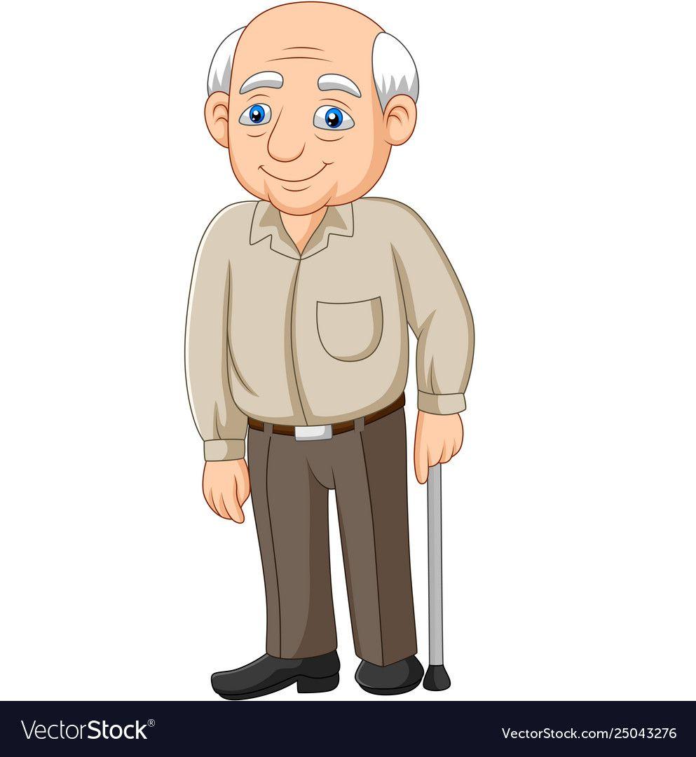 Cartoon Senior Elderly Old Man Royalty Free Vector Image Old Man Cartoon Classic Cartoon Characters Children S Book Characters