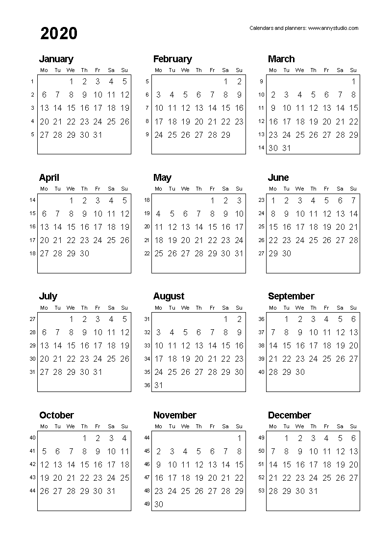 Free Printable Calendars And Planners 2019 2020 2021 2022 Calendar Printables Printable Calendar 2020 Calendar With Week Numbers