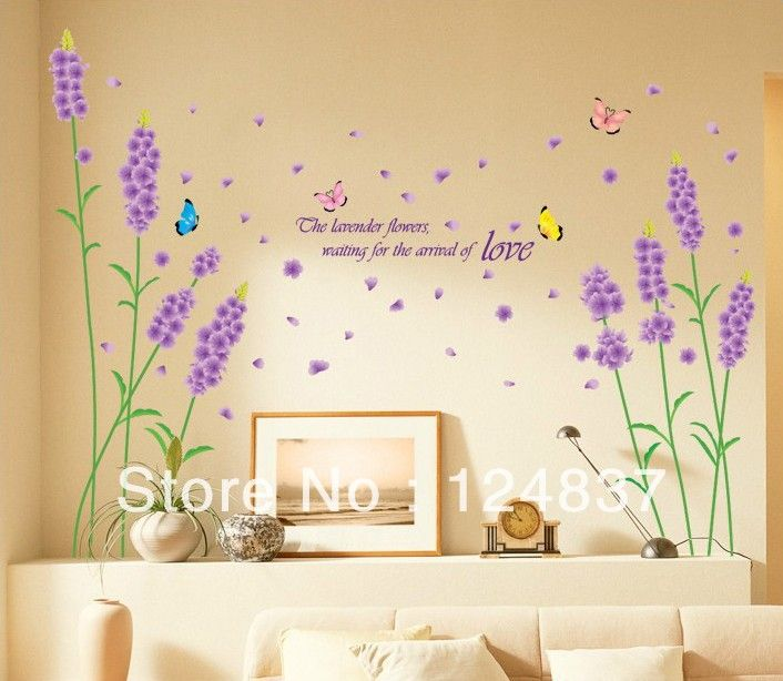50cm*70cm flower wall stickers Butterfly sticker Lavender wallpaper vinyls removable decals wall art bedroom decor home poster  $8.88