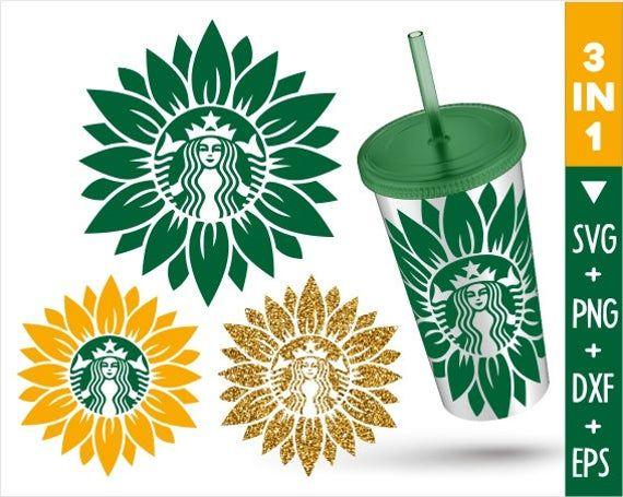 Sunflower Starbucks Svg Leaf Flower Floral Starbucks Svg Tumbler Mug Cold Cup Sticker Decal Silhouette Cameo Cricut Cut File Png Eps Vozeli Com