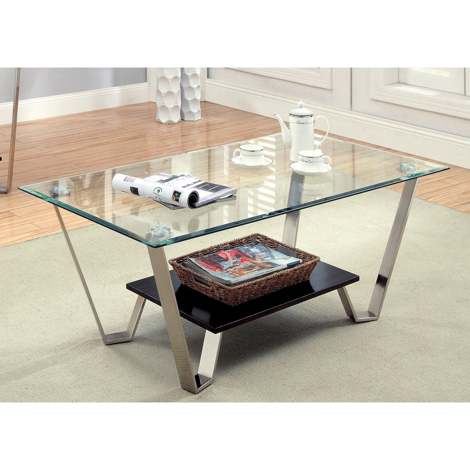 Furniture Of America Ardea Beveled Glass Top Coffee Table Chrome Espresso Www Hayneed Coffee Table Coffee Table And Side Table Set Glass Top Coffee Table [ 1600 x 1600 Pixel ]