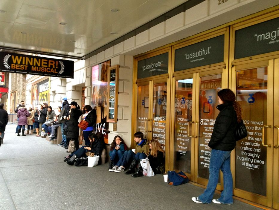 "The rush line for ""Once"" we miss this show! Discount"