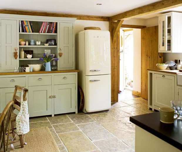 Smeg Fridge And Welsh Dresser In A Country Kitchen