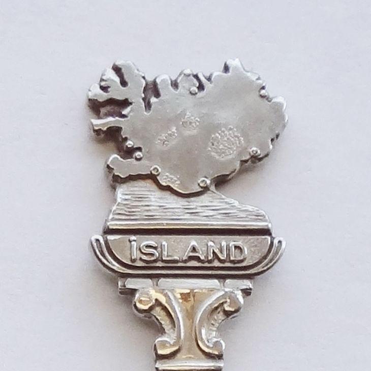 Collector Souvenir Spoon Iceland Reykjavik Island Map Figural