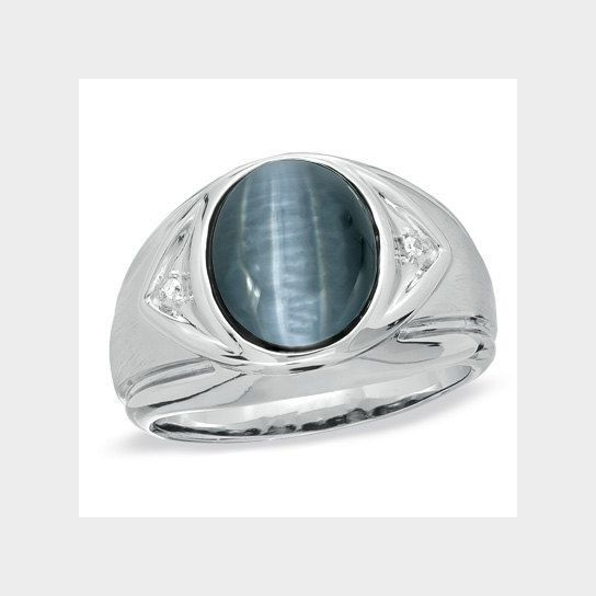 1abd3a0c6e4 Men's Oval Cat's Eye Ring in Sterling Silver in 2019 | mens jewelry ...