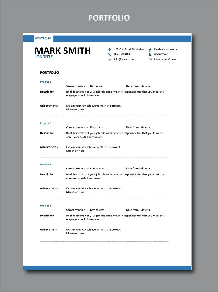 This Shows You How To Write Out Your Portfolio F Modern Resume