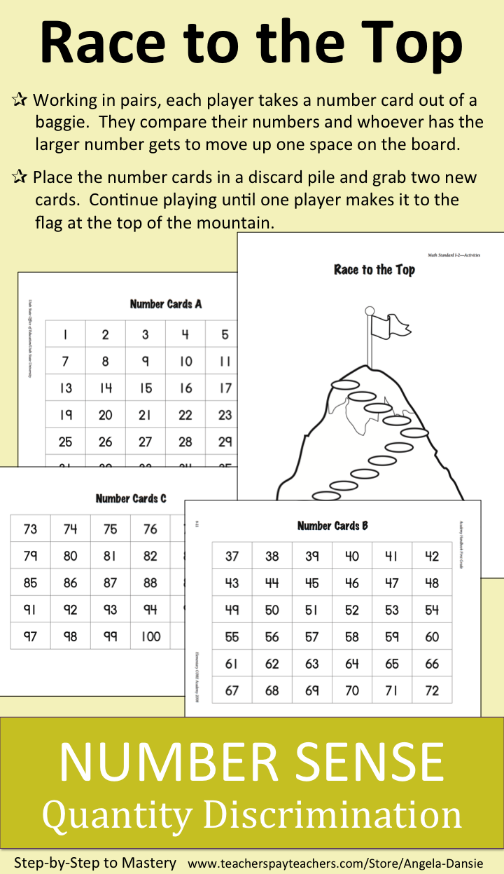 FREE Number Sense Activity ~ Quantity Discrimination ~ First Grade Math ~ For more First Grade Math Resources for Intervention Groups and Special Education visit:  https://www.teacherspayteachers.com/Store/Angela-Dansie