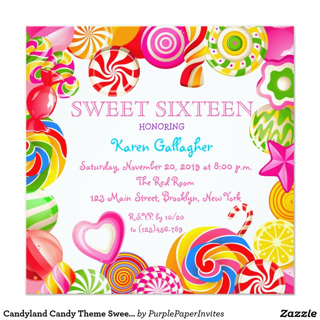 candyland candy theme sweet 16 invitation in 2018 sweet 16
