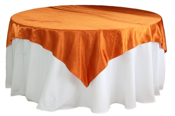 "Square 72"" Satin Table Overlay - Burnt Orange"