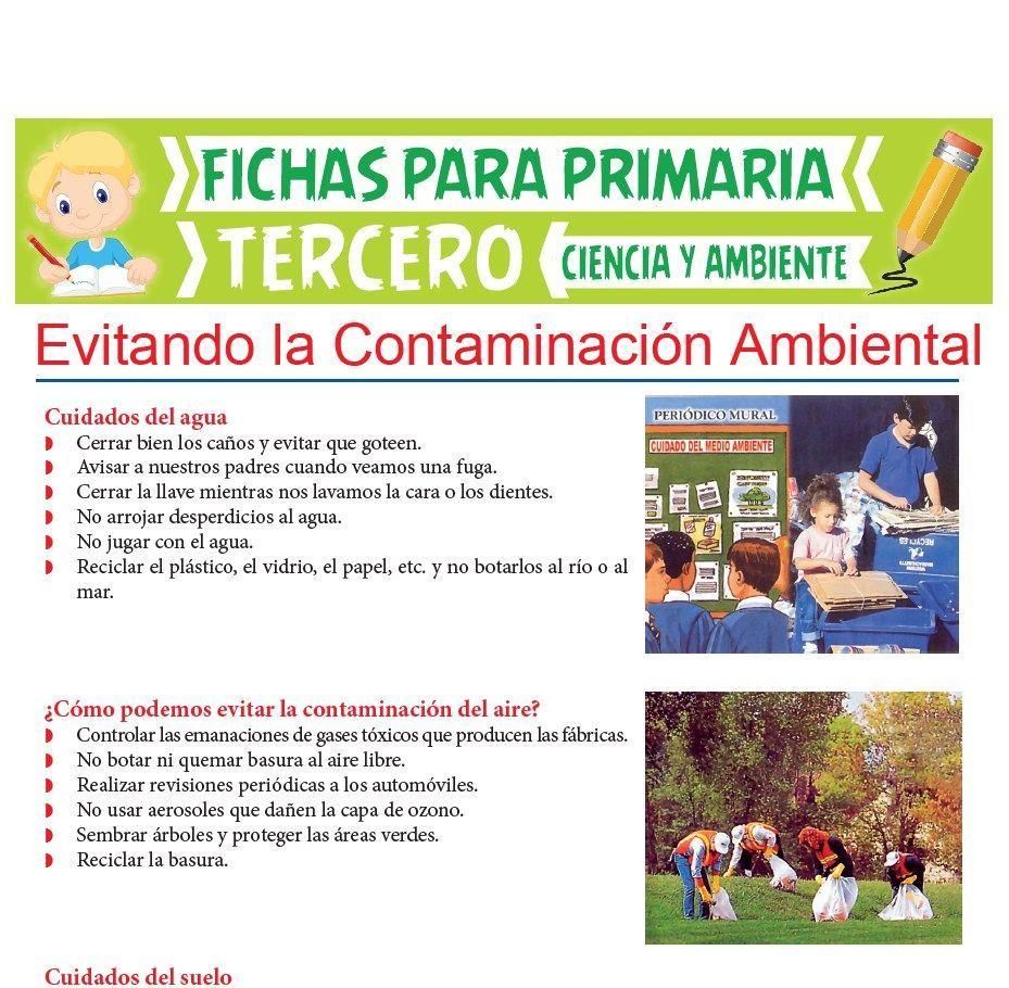 Evitando La Contaminacion Ambiental Para Tercer Grado De Primaria