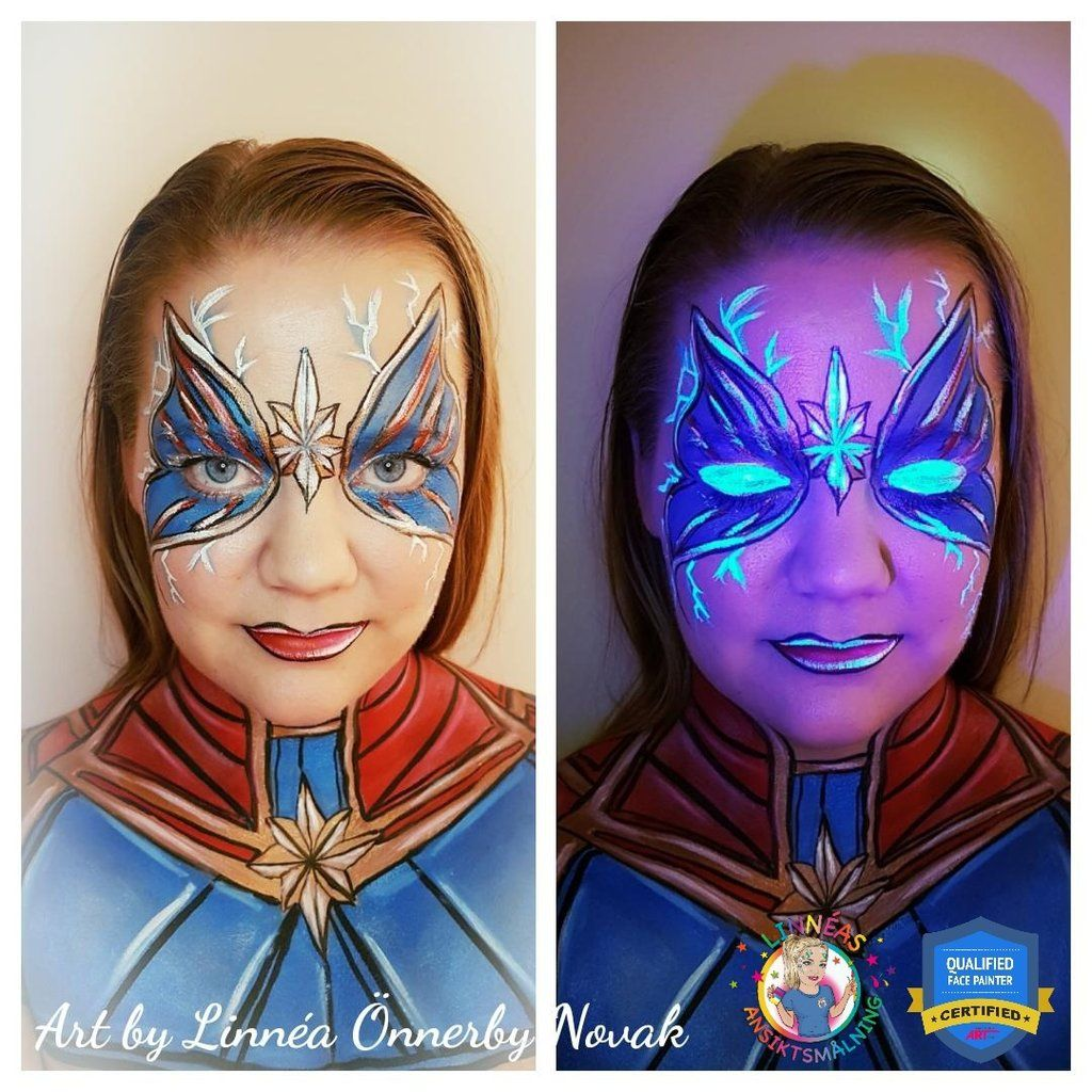 Captain Marvel Neon Butterfly Face Paint Video By Linnea Onnerby Novak Butterfly Face Butterfly Face Paint Captain Marvel