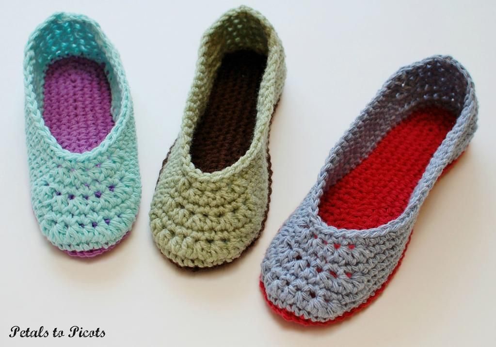 Ladies Slippers (Women\'s Sizes 4-11) | Slippers crochet, Ladies ...