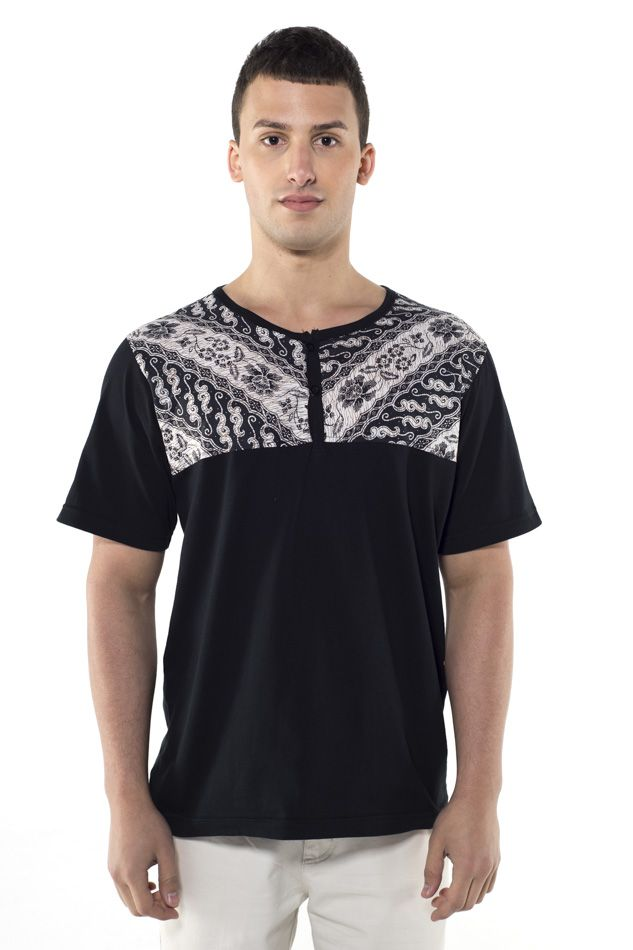 A unique diagonal patterned on the front chest t-shirt. The shoulders are spanned by a black-and-white patterned insert, featuring diagonal stripes which meet at a point under the neck.  Tshirt tee tees