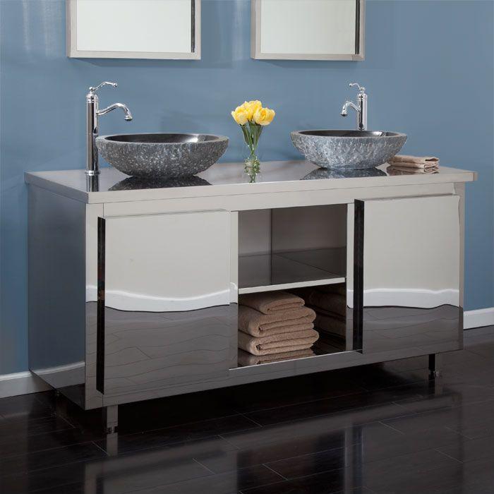 60 Loveland Stainless Steel Double Vanity Cabinet For Vessel Sink Bathroom Vanity Whittingto Small Bathroom Furniture Vessel Sink Vanity Bathroom Vanity