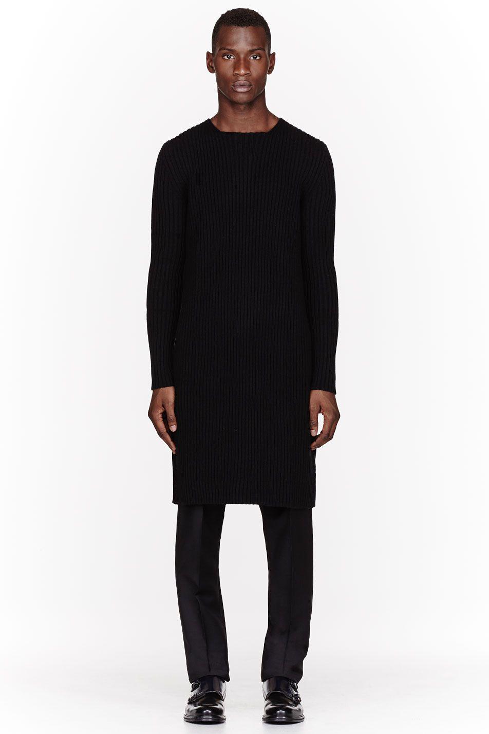 YANG LI Black Cashmere ribbed knit overlong Sweater
