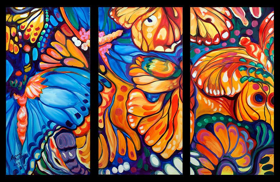 Abstract Butterflies Triptych Painting - Abstract ...