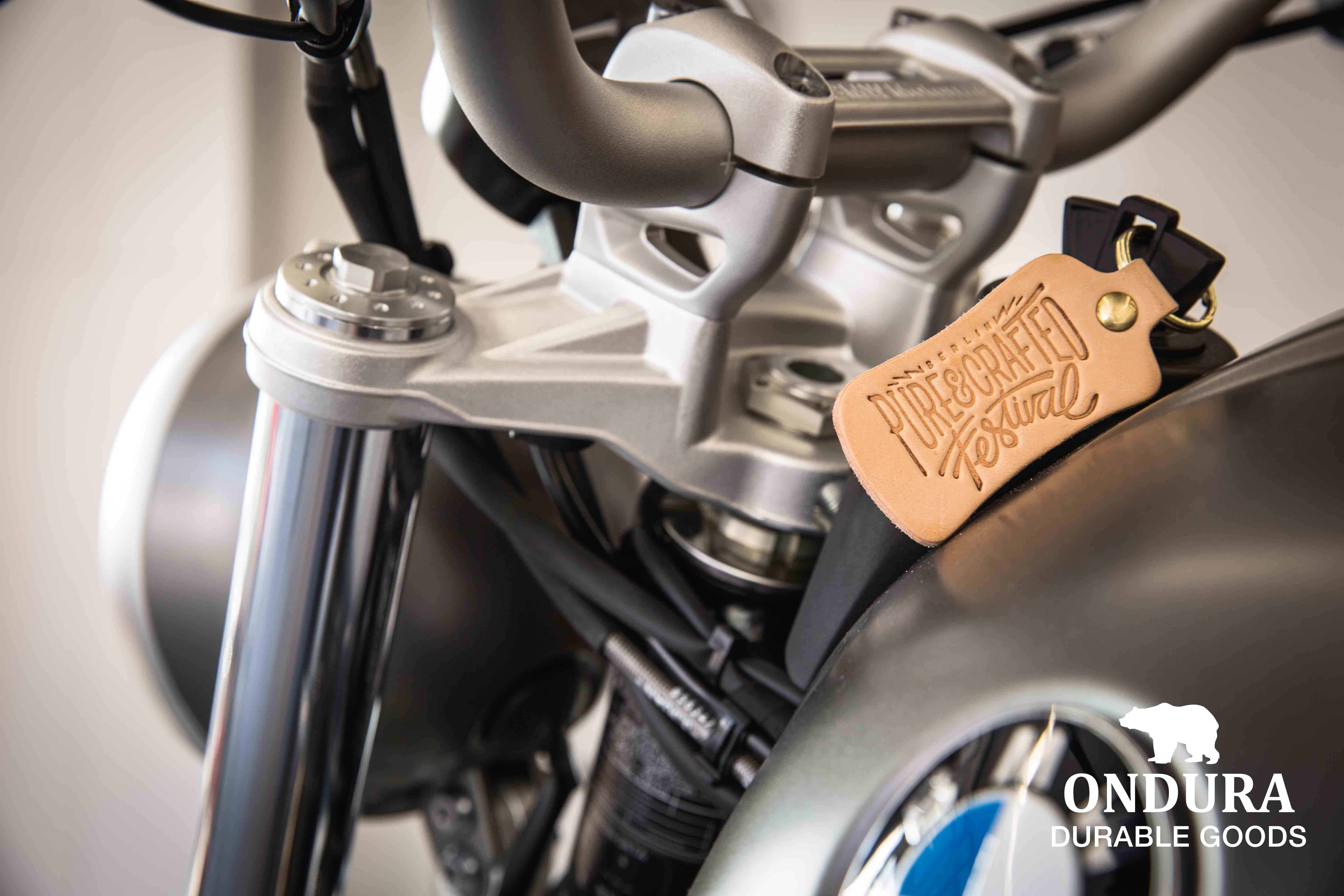 ondura durable goods x bmw motorrad. motorcycle key fob made from