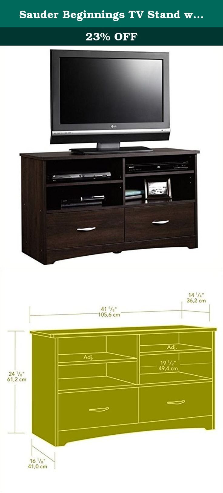 Sauder Beginnings Tv Stand With Drawers Cinnamon Television