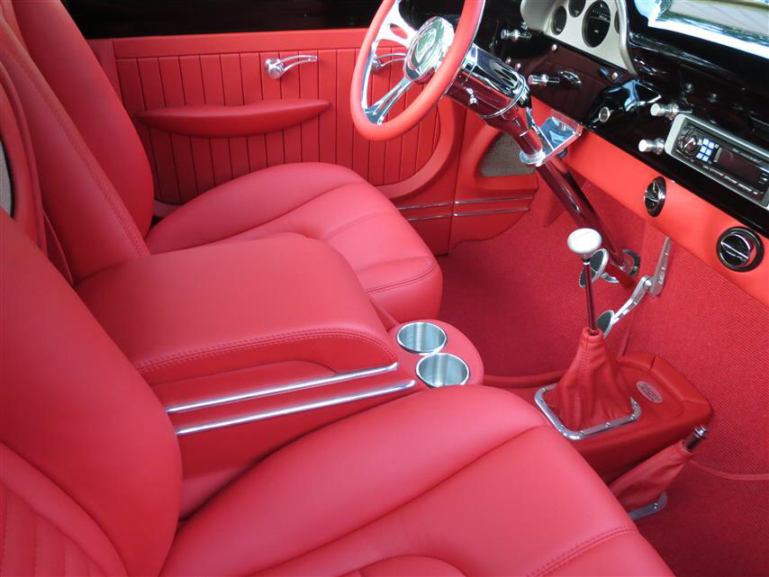 1956 F 100 Custom Leather Interior Red Leather Upholstery With Images Leather Interior Custom Leather Leather Upholstery