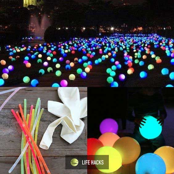 Top 21 Easy and Fun Ideas with Glowing Sticks - Carnival party decorations, Diy carnival, Glow stick balloons, Glow party, Party decorations, Neon party - Are you a big fan of glow sticks  Glowing sticks in the dark of the night fascinates us all  Maybe you have know some usual uses of glow sticks, but there are a lot of different, fun and unexpected ways you didn't know before  From kid's crafts to diy game [   ]