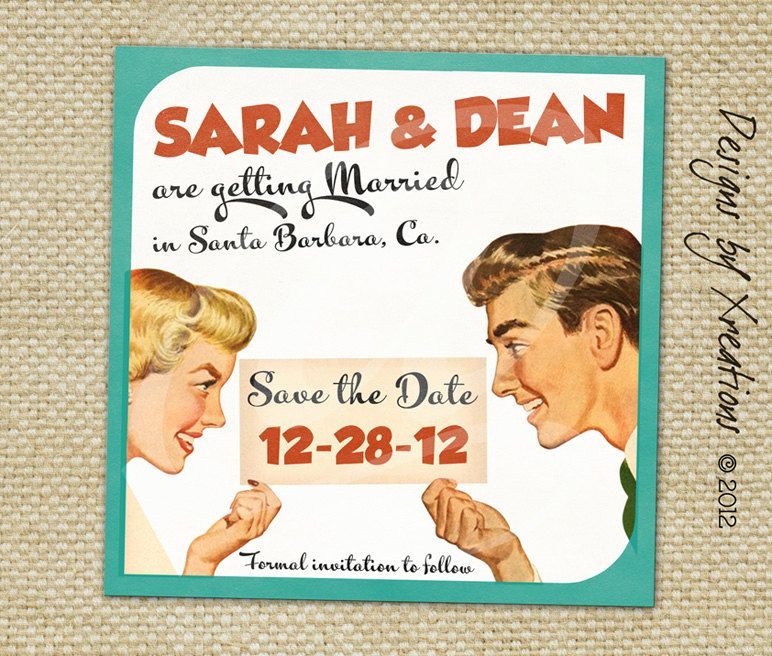 Vintage Themed Save the Date Wedding Invitation - Digital File - customizable wordings - Print your own. $15.00, via Etsy.