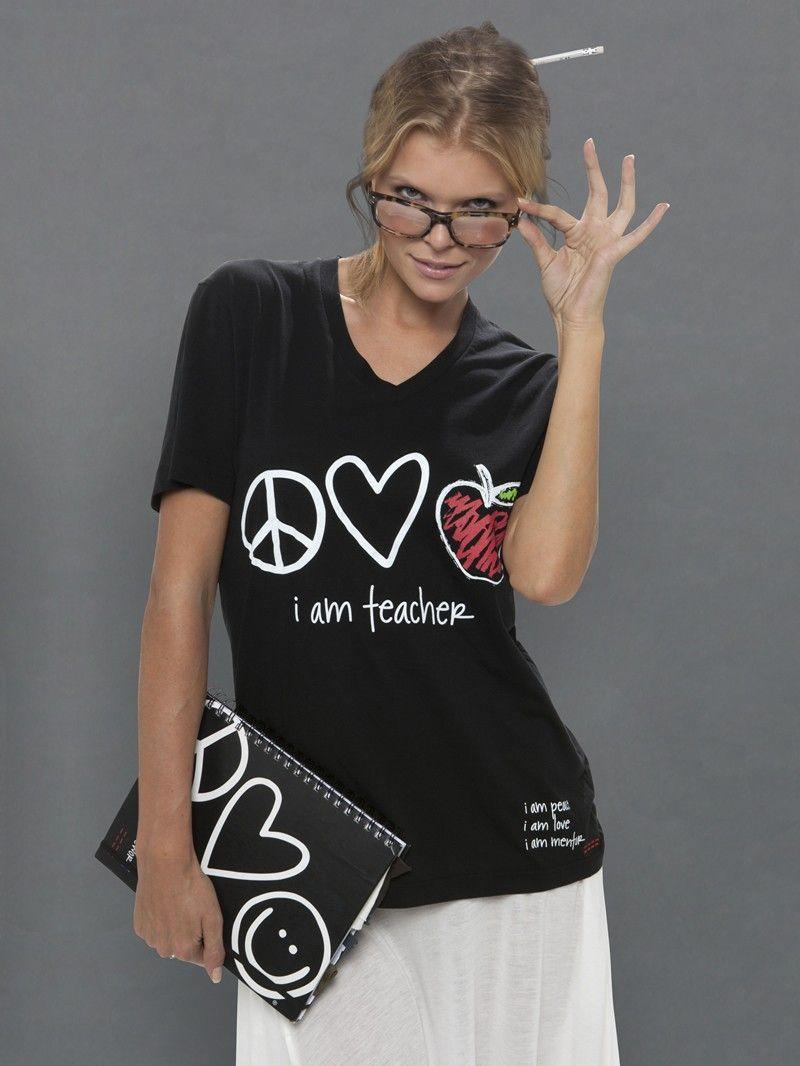Peace Love World I Am Teacher Black V Neck Tee Tops Women